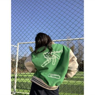 59933/拼接外套女2021新款春季美式街头棒球服ins学生国潮嘻哈夹克上衣