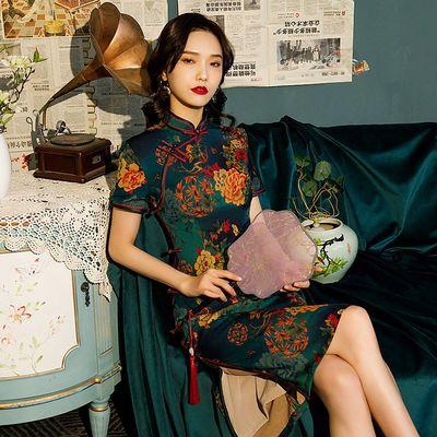 29849/中长款双层香云纱旗袍八扣日常复古修身优雅中国风大码中年妈妈装