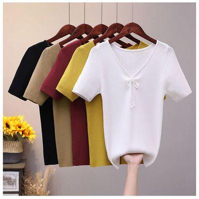 39402/【下单立减】2021新款短袖T恤女纯色百搭打底衫韩版半袖宽松上衣