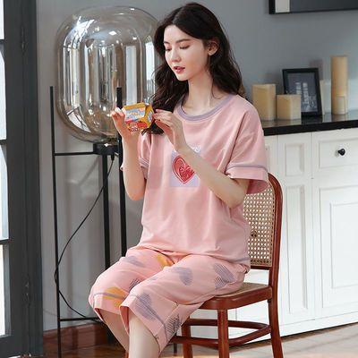 77648/100%纯棉睡衣女夏全棉家居服短袖春夏2021年新款夏季大码两件套装