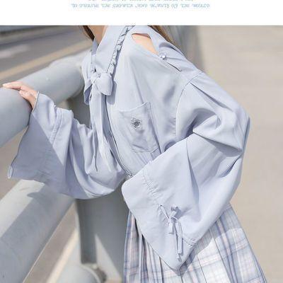 17900/法式小众上衣学生上衣设计感小众露肩衬衫2021早春新款JK衬衣女潮
