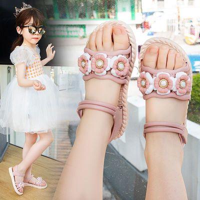 女童凉鞋2021年夏季新款时尚花朵凉鞋露趾沙滩鞋防滑软底小孩童鞋