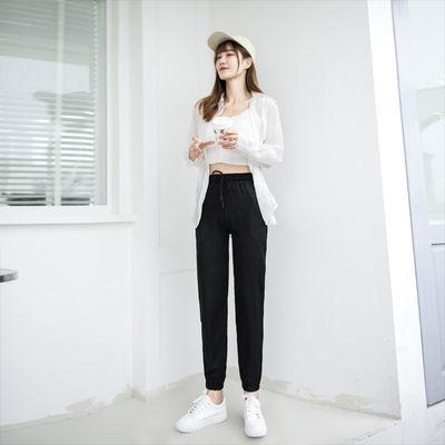 裤子女2021新款春夏裤子女宽松百搭潮流束脚裤时尚韩版灯笼裤