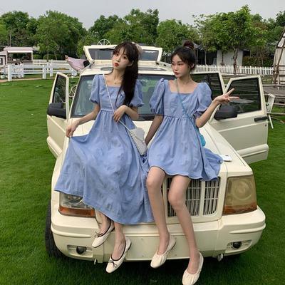 35067/夏季2021新款韩版洋气方领泡泡袖白色连衣裙女小个子闺蜜装初恋裙