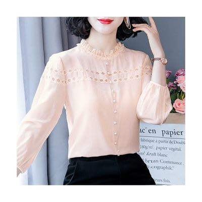 19030/2021春秋新款高档洋气小衫时尚雪纺衬衫女设计感小众遮肚气质上衣