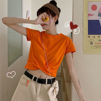 2021夏新款学生韩版显瘦修身短袖小心机短款高腰露脐t恤上衣女ins