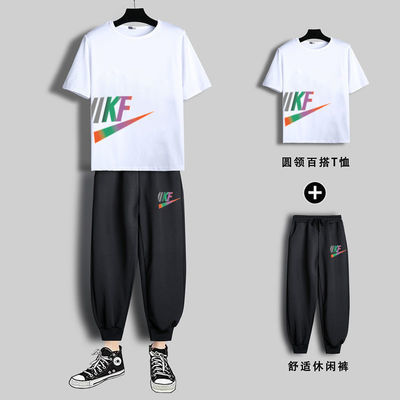 运动套装男2021夏季男士短袖T恤韩版潮流青年宽松休闲一套上衣服