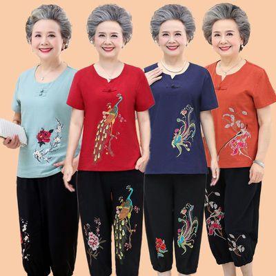 36305/老年人女夏棉麻70-80岁老太太绣花上衣妈妈装短袖奶奶装两件套装