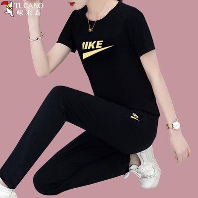 31303/啄木鸟纯棉运动套装女2021夏季新款时尚宽松洋气休闲显瘦两件套潮