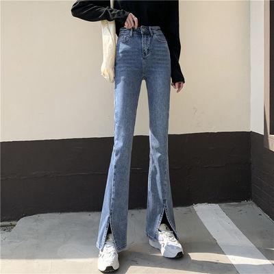 24496/开叉牛仔裤女夏季2021年新款宽松高腰垂感显瘦阔腿微喇叭拖地裤子
