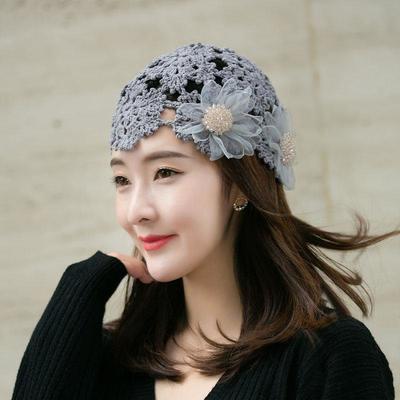 74303/文艺森女复古镂空包头帽手工钩针织棉线贝雷帽缝珠欧根纱花朵甜美