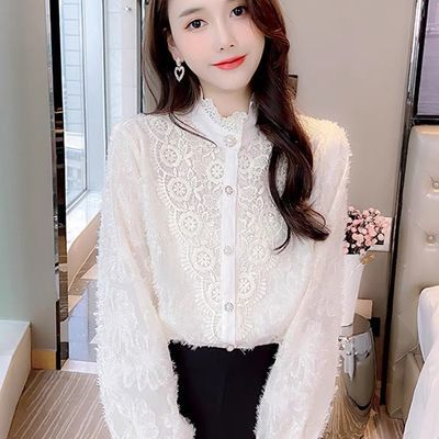 18422/蕾丝花边打底衫女2021春季新款韩版女装修身雪纺衬衫时尚气质小衫
