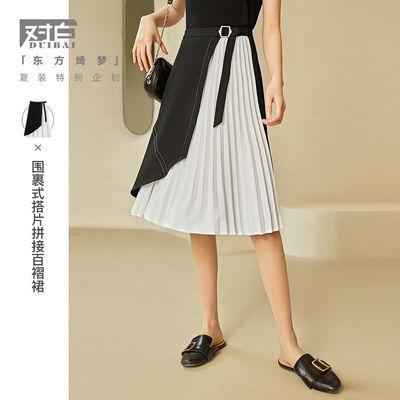 35422/对白东方绮梦时髦拼接半身裙女2021夏季新品高腰A字裙中长百褶裙