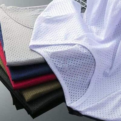 1/2件夏季冰丝t恤男士短袖网眼镂空宽松透气速干运动上衣半袖体恤