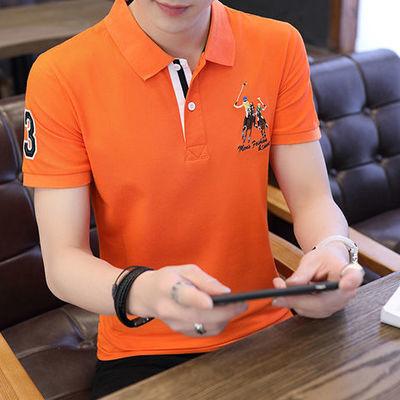 7104/夏季男士短袖T恤刺绣保罗潮流中青年男装纯棉宽松翻领大码polo衫