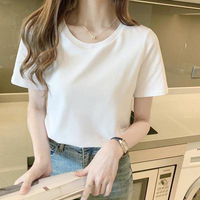 白色女士短袖t恤女2021新款韩版圆领夏季女装纯色t恤上衣半袖女潮