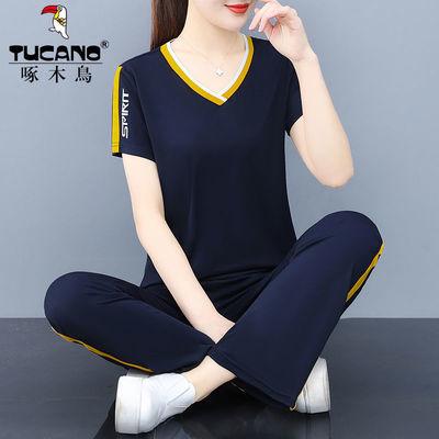 34253/啄木鸟纯棉运动套装女夏季2021新款时尚休闲短袖套装两件套跑步服