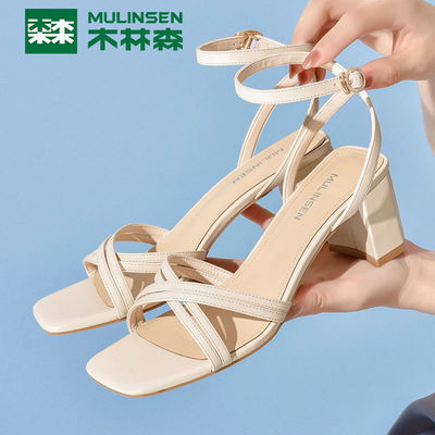 35509/木林森正品女鞋 2021夏季新款时尚气质一字扣带高跟鞋粗跟凉鞋女