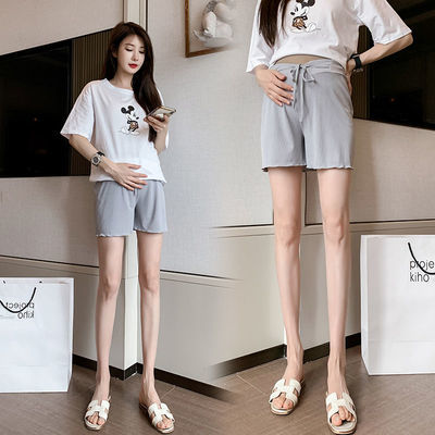 夏季孕妇短裤时尚裤绳托腹外穿三分打底裤高低腰孕妇打底裤子夏装