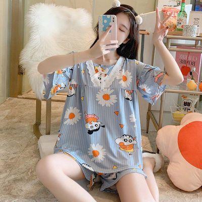 74951/夏季睡衣女学生韩版宽松可爱卡通短袖短裤女士家居服两件套可外穿