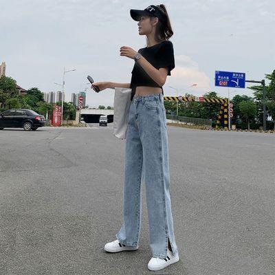 开叉阔腿牛仔裤女直筒宽松泫雅风高腰2021春夏新款垂感分叉拖地裤