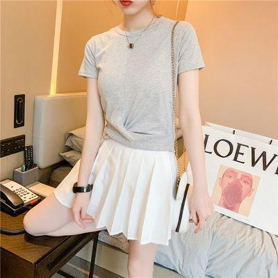 2021新款短袖t恤女纯色夏季纯色洋气圆领上衣女百搭修身韩版体恤