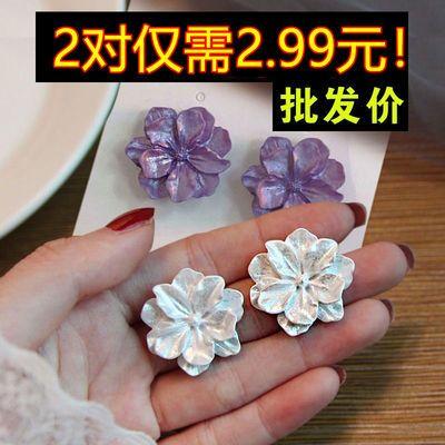 69041/2021年新款防过敏山茶花栀子花白色玫瑰花耳钉花朵耳环无耳洞耳夹