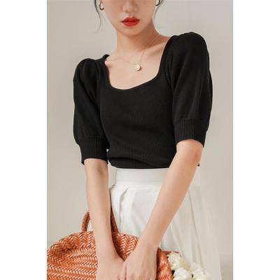 14313/法式方领泡泡袖针织上衣女夏新款冰丝复古短款黑色短袖T恤