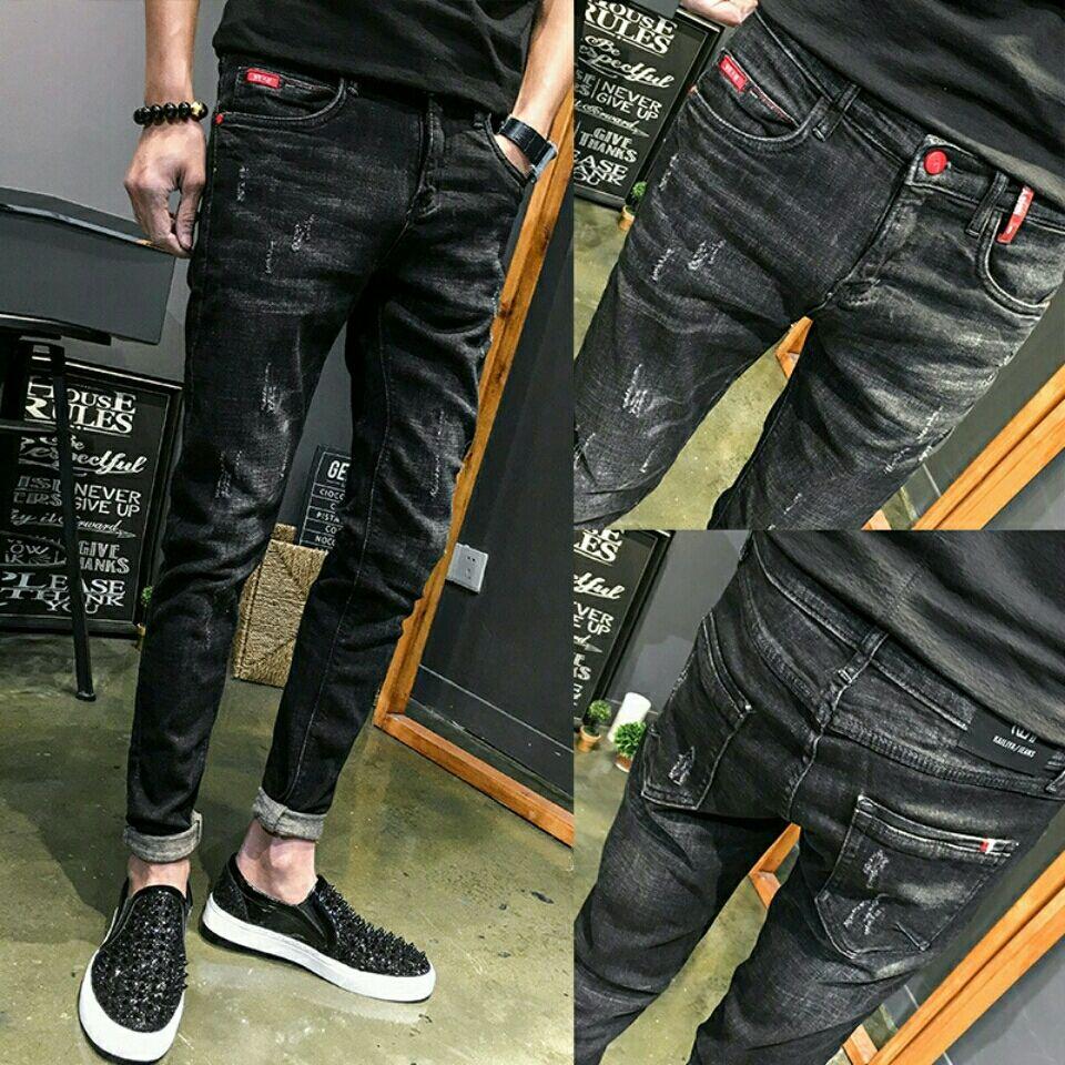 黑色牛仔裤弹力休闲小脚裤