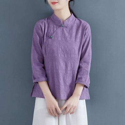 39765/中国风复古文艺棉麻上衣女春装新款长袖旗袍衬衫中式盘扣禅意茶服