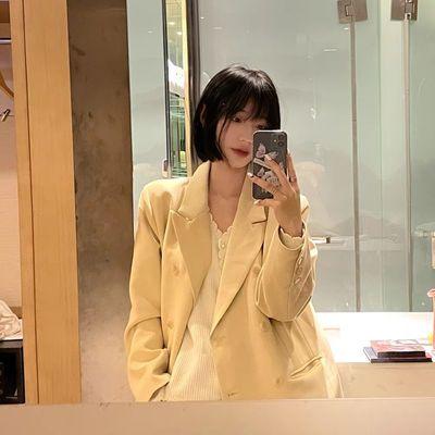 16649/好质量!好版型!韩版休闲宽松双排扣气质小西装外套女春季新款