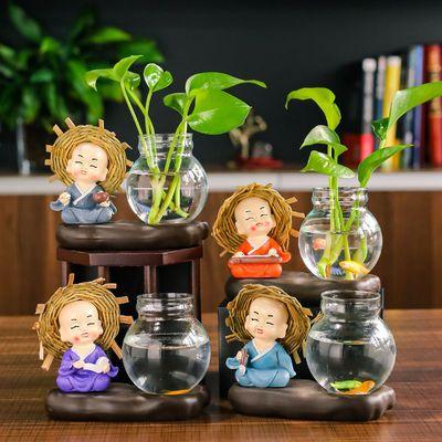 创意家居摆件四不小和尚装饰品客厅插花水培绿萝花瓶办公桌小摆设