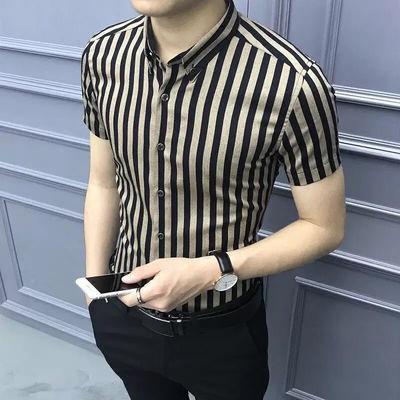 76262/夏季男士短袖衬衫男韩版潮流条纹修身半袖寸衫帅气青年休闲衬衣男