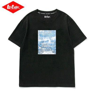 Lee Cooper短袖男休闲2021夏季新款新疆棉百搭圆领半袖宽松T恤潮