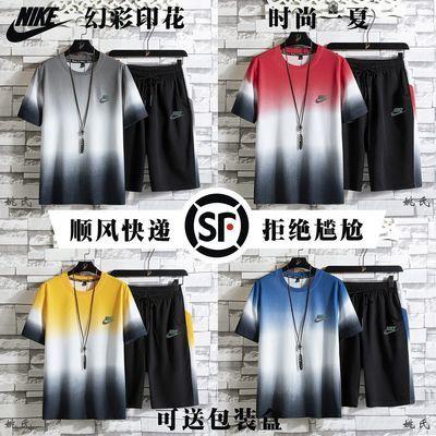 37591/【顺风快递】2021新款套装男士速干T恤跑步休闲装短袖短裤两件套