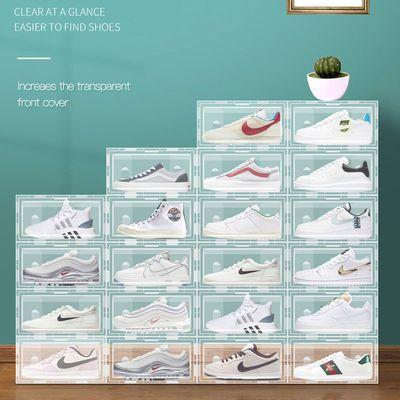 35815/透明鞋盒收纳盒塑料翻盖式鞋箱鞋柜鞋子整理箱可折叠AJ球鞋鞋架子