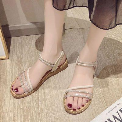 32575/夏季新款凉鞋女2021新款罗马鞋休闲女夏季韩版平底外穿水钻仙百搭
