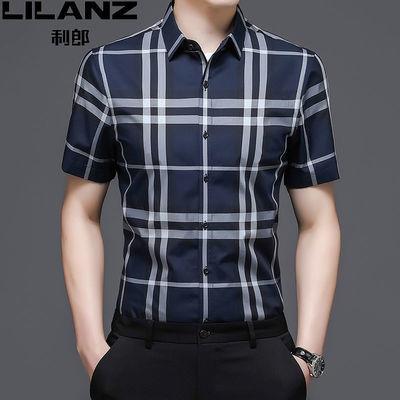 8639/利郎男短袖衬衫中年商务潮流长袖衬衣2021新款100%纯棉春夏寸衫