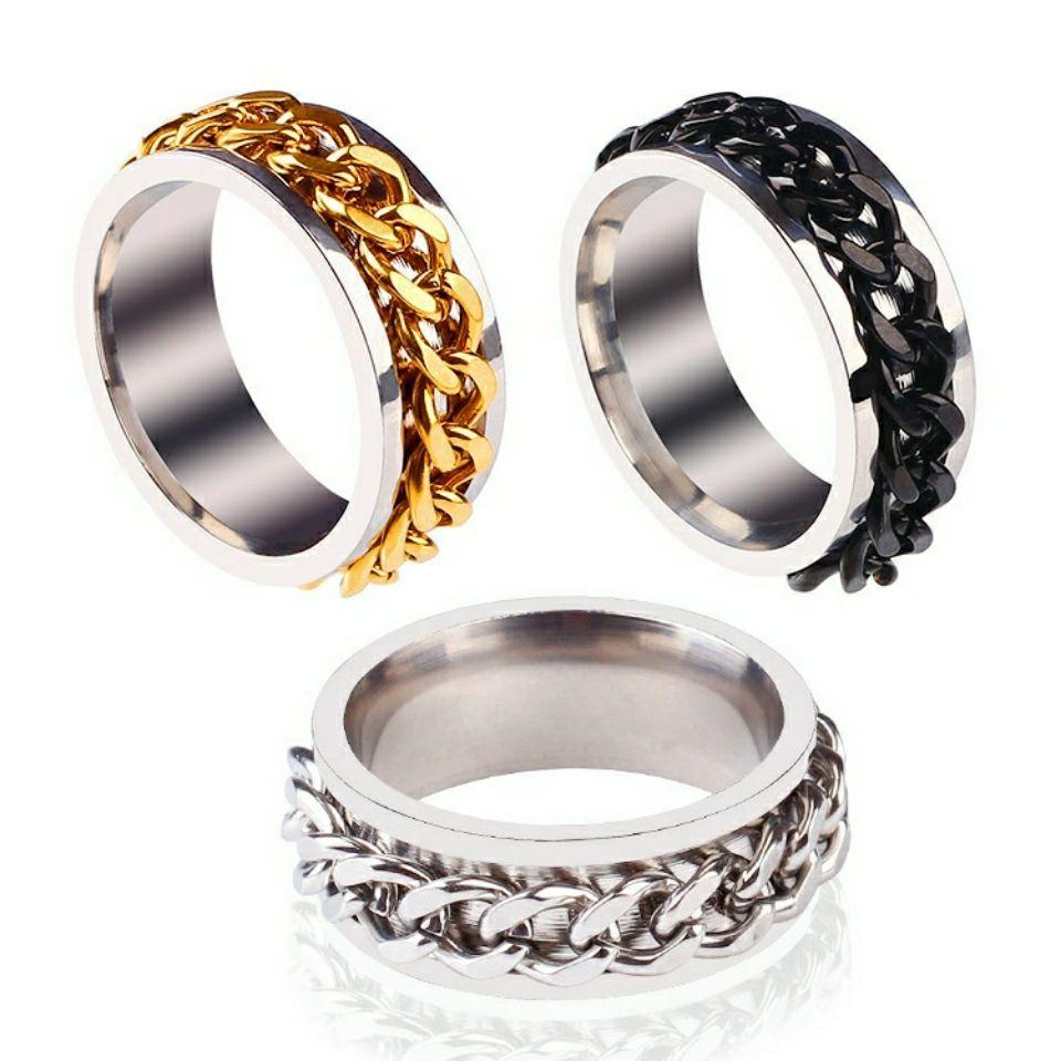 钛钢戒指可转动链条抖音网红同款
