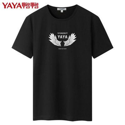 33256/鸭鸭男装 2021夏季新款男士短袖t恤韩版宽松圆领印花半袖男