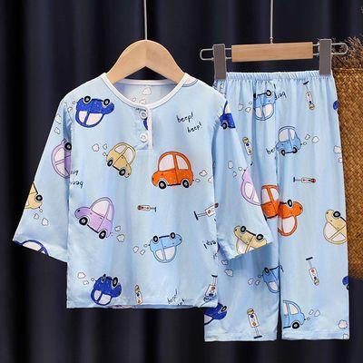 儿童睡衣夏季棉绸套装男童女童宝宝小孩薄款绵绸长袖空调服家居服