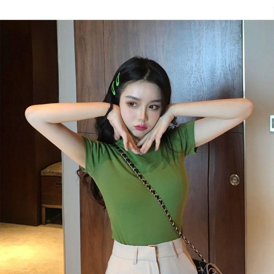 纯色短袖t恤女夏季韩版衣服女