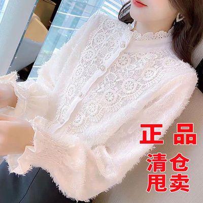 62165/蕾丝打底衫韩版2021新款女装网纱内搭上衣秋冬洋气外搭长袖衬衫女