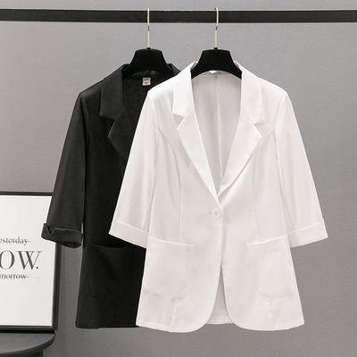 18304/2021春夏冰丝棉麻小西装女短款修身显瘦垂感小个子上衣薄亚麻西服