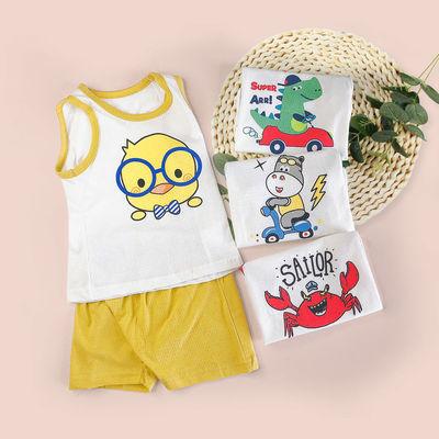 婴儿无袖套装纯棉夏季薄款男女宝宝背心短裤两件套儿童卡通家居服