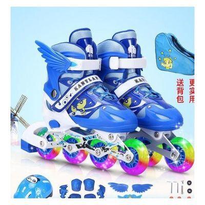 12373/儿童溜冰鞋全套装男童女童滑冰鞋轮滑鞋旱冰鞋初学者闪光大小可调
