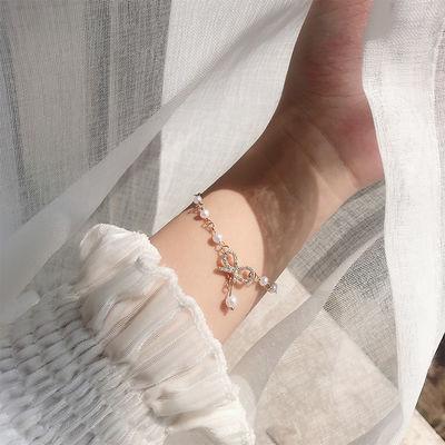 17958/蝴蝶结珍珠手链女ins小众设计感精致简约日常百搭学生手环手饰潮
