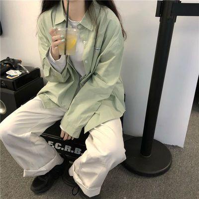 21895/韩系学院风衬衫女2021初春新款设计感纯欲学生宽松长袖衬衣薄外套