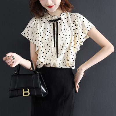10775/XWI2021夏装新款女装时尚气质蕾丝蝴蝶结荷叶边波点休闲圆领衬衫