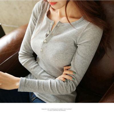 春季2021韩版新款长袖打底衫洋气性感纽扣t恤修身纯色百搭女上衣